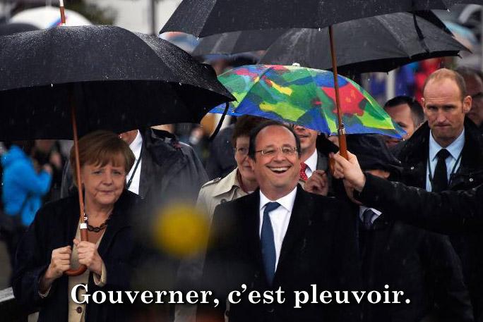 hollande et le parapluie magique