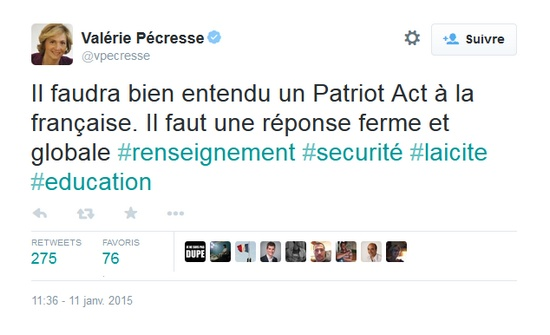 tweet pecresse il faudra un patriot act