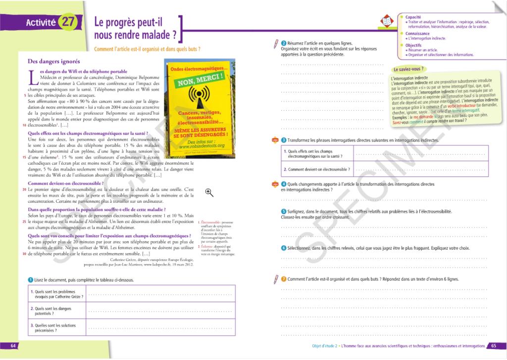 manuel scolaire - électro sensibilité