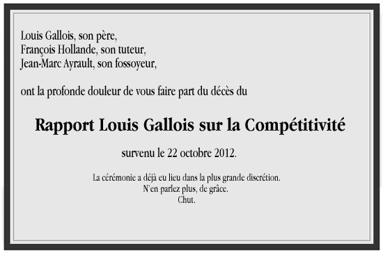 Enterrement du Rapport Gallois