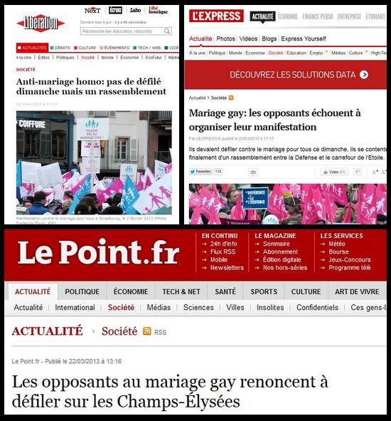 mariage homosexuel et presse pas du tout orientée