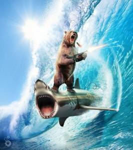 l'ours qui fume un cigare et tire à la mitraillette en faisant du surf sur un requin