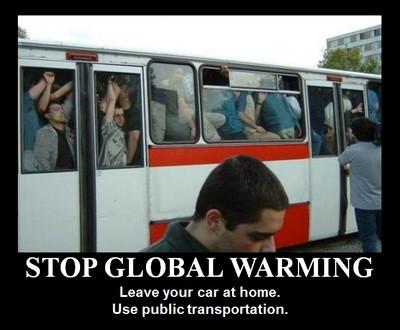 bus municipaux - stop global warming leave your car use public transport