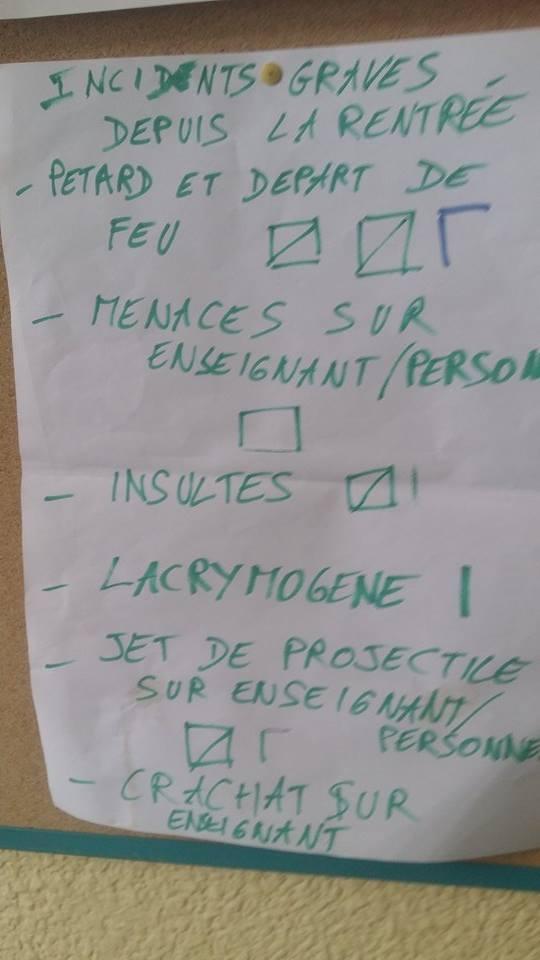Affichage trouvé en salle des profs