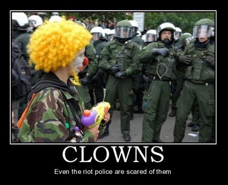 clowns and riot police