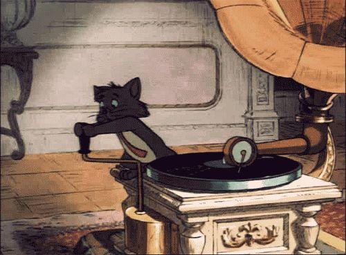 gifa - cat - gramophone