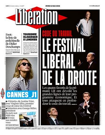 Une de Libération - festival libéral de la droite