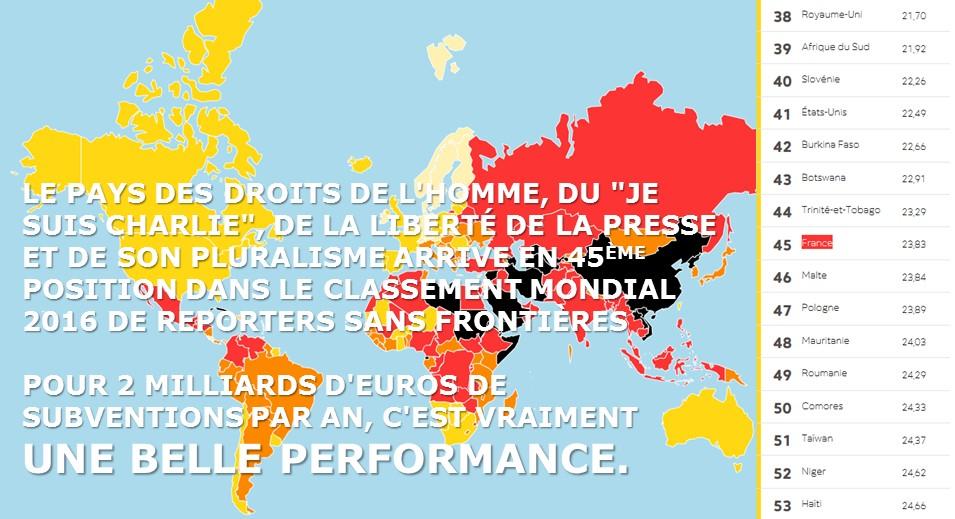 reporters sans frontières liberté presse classement 2016